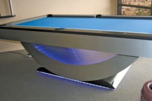 Craig Billiards displays this contemporary pool table featuring LED lights